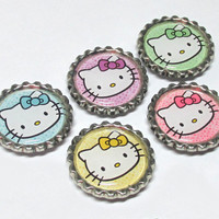 Hello Kitty Magnets / Bottle Cap Magnet Set / Kawaii Bottlecap / Pastel Rainbow / Fridge Magnets / Hello Kitty Party Favors