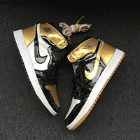 Nike Air Jordan Retro 1 Top 3 Gold Black/Black-Metallic Gold Men Sneakers 861428-001