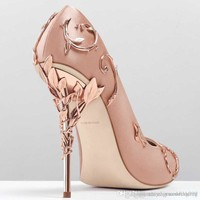 2017 pink/blue satin bridal wedding shoes eden pumps high heels with leaves shoes for evening/prom/party