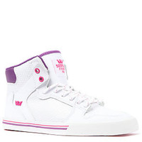SUPRA The Vaider Sneaker in White Leather with Pink and Purple accents : Karmaloop.com - Global Concrete Culture