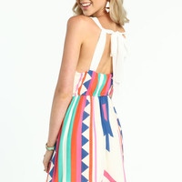 NEON TRIBAL BACK TIE DRESS