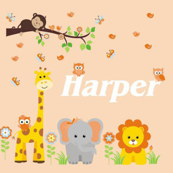 """Monogrammed Wall Decals, Personalized Wall Decal, Safari Animal Nursery Decals, Monogrammed Animal Decal, Tall Giraffe Decal - 60"""" x 50"""""""
