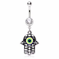316L Surgical Steel Antique Evil Eye Hamsa Amulet Dangle Navel Ring