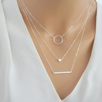Silver/Gold Layered Bar Necklace