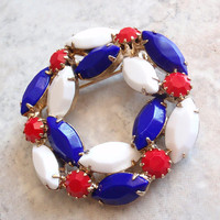 Red White Blue Brooch Pin Circle Wreath Prong Set Milk Glass Marquise Vintage