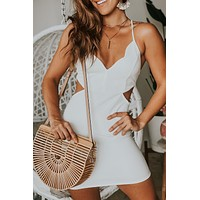 White Cut Out Short Dress with Scalloped Neck