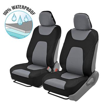 Motor Trend AquaShield Car Seat Covers, Front – 3 Layer Waterproof Neoprene Material with Modern Sideless Design, Universal Fit for Auto Truck Van SUV Gray & Black