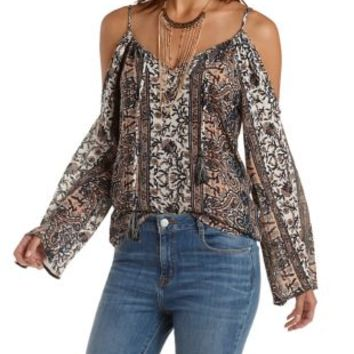 Blue Combo Cold Shoulder Paisley Print Peasant Top by Charlotte Russe
