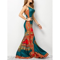 Bohemian Tribe Print Long Fitted Mermaid Dress - Lake Blue