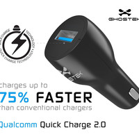 Ghostek® NRGcharge QuickCharge 2.0 Rapid High-speed Fast Wall Car Black Charger w/ Micro USB Cable