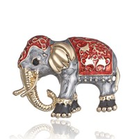 Enamel Red And Gray Elephant Brooch Pin for Women