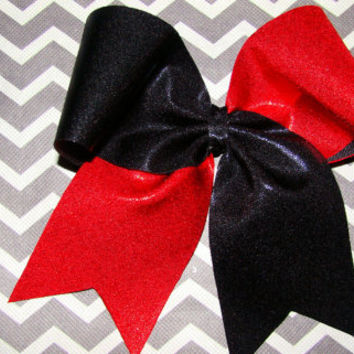 Black and Red Mystic Criss Cross Cheer Bow by isparklethat on Etsy
