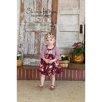 Fall Adorable Maroon Floral Vintage Dress.