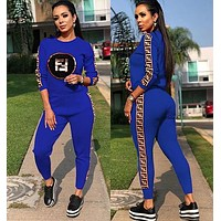 FENDI Classic Hot Sale Women Casual Sequins Long Sleeve Top Pants Set Two-Piece Sportswear Blue