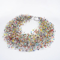 FREE SHIPPING. Multi Colored Glass Bead Necklace, Beaded colored necklace, Everyday assorted beads necklace, Bridesmaid, Women