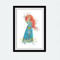 Disney princess poster Merida The Brave watercolor poster Merida colorful print Home decoration Kids room decor Nursery room poster W413