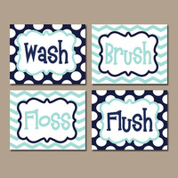Kid Bathroom Wall Art Boy Artwork Brothers Wash Brush Floss Flush Navy Aqua Blue Choose Colors Chevron Polka Dots Bath Decor Set of 4 Prints