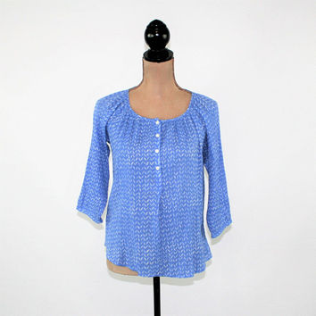 Blue Top Crinkle Peasant Blouse Cotton Shirt Women Petite XS Loose Fitting Top Casual Print Blue and White Ann Taylor Loft Womens Clothing