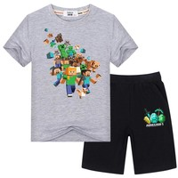 Toddler Baby Boy Girl Cartoon T-shirt Tops Pants Outfits Set Clothes 3-14years Cotton Casual Short Sleeve Kids Sets