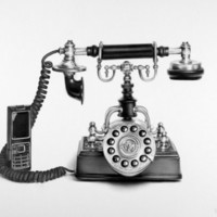 Vintage Telephone Pencil Drawing  Fine Art  Print Signed by Artist