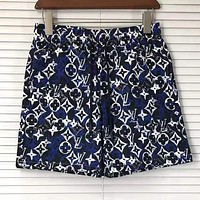 LV Louis Vuitton Summer Popular Men Women Full Logo Print Casual Beach Sport Shorts Navy Blue