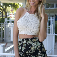 Not Lonely Hearts Club Halter Crop Top - Natural