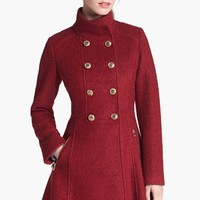 GUESS Fit & Flare Bouclé Military Coat (Online Only) | Nordstrom