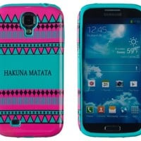 DandyCase 2in1 Hybrid High Impact Hard Hakuna Matata Aztec Tribal Pattern + Teal Silicone Case Cover For Samsung Galaxy S4 i9500 + DandyCase Screen Cleaner