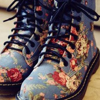BLUE Martin Style Floral Print Lace Up Ankle Boots-HEEL:3cm from SECHIC
