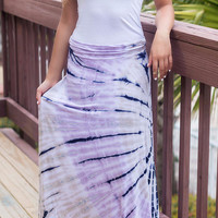 Down To The Riptide Purple Tie Dye Maxi Skirt