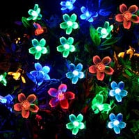 [50 Led] Solar Outdoor Blossom Lights \ Outside Flower String Lights Decorations, 8 Mode (Steady, Flash), Waterproof, Fairy Lamp for Patio, Garden, Yard, Porch, Fence, Christmas Tree (Multi Color)