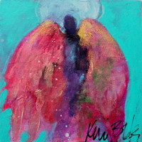 "Abstract Angel Painting, Small Original, Miniature, Spiritual Art, ""Little Angels Have Big Jobs"" 6x6"""