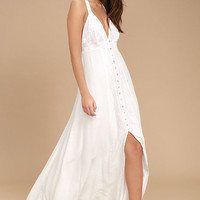 Dainty Darling Blush Pink and White Embroidered Maxi Dress