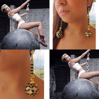 dangle earrings,Statement Jewelry, Dance jewelry, dangler earrings, miley cyrus wrecking ball,Jewelry ,Earrings