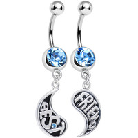 Aqua Gem Rainy Day Best Friend Raindrop Dangle Belly Ring Set | Body Candy Body Jewelry