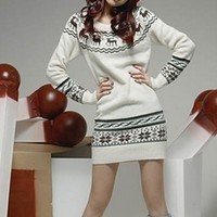 White Black Fair Isle Winter Long Sleeve Cozy Knitted Christmas Sweater Mini Dress