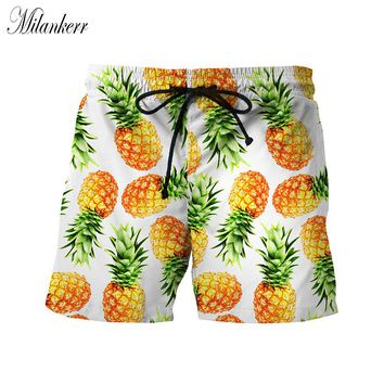 Women Swim Truck Shorts Quick Dry Stretch Board Printed Swim Surfing Sportwear Pineapple Ananas Slices Tropical Fruit