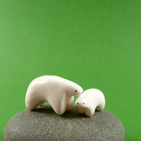Mommy And Baby Polar Bear Set  Hand by MadeWithClayAndLove on Etsy