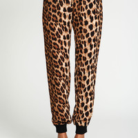 Gold Zip Leopard Jogger Pants