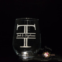 Engraved monogram wine glass,split monogram wine glass,Stemless Bride and Groom wine glass,Custom Bride and groom wine glass,engagement gift