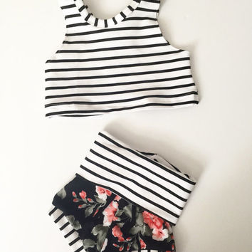 Baby and toddler two piece crop top set | gift | black floral | summer | spring