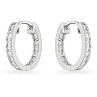 Norma 5ct CZ White Gold Rhodium Small Hoop Earrings