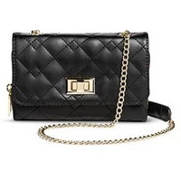 Women's Quilted Crossbody Faux Leather Handbag Turnlock Clasp Black - Mossimo™