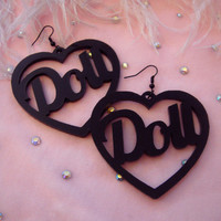 Black Acrylic DOLL Earrings by imyourpresent on Etsy