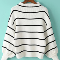 White Striped Drop Shoulder Sweater