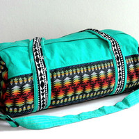 Southwestern Weekender bag, Duffle Bag for Men Women, Small Travel Overnight Bag, Short trip, Hippy Sport Gym bag, Stonewashed Canvas Cotton