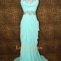 Sweetheart Ice blue prom dress/graduation dresses