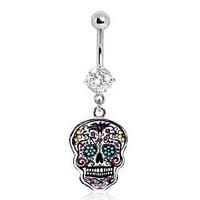 316L Surgical Steel Floral Sugar Skull Navel Ring;Sold individually
