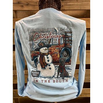 Southern Chics Christmas in the South Snowman Dog Truck Comfort Colors Long Sleeves T Shirt