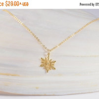 SALE 20% Off - SNOWFLAKE NECKLACE, Delicate Pendant, High Quality Gold Plated 2.5 Micron, Special Gift, Wedding Gifts, Handmade Jewelry, Bri